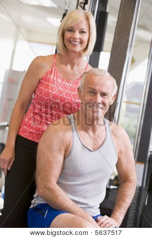Man And Woman At Gym Together