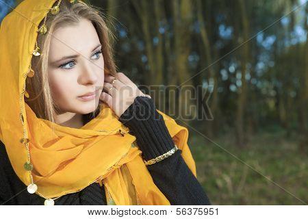 Sensual Blond Woman Outdoors