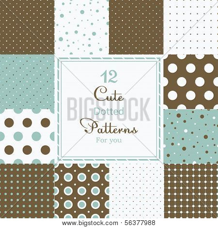 12 Cute different dotted vector seamless patterns (tiling).