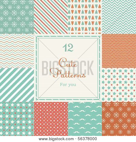 12 Cute different vector seamless patterns (tiling).