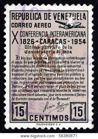 Postage Stamp Venezuela 1954 Quotation From Bolivar's Manifesto