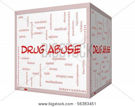 Drug Abuse Word Cloud Concept On A 3D Cube Whiteboard