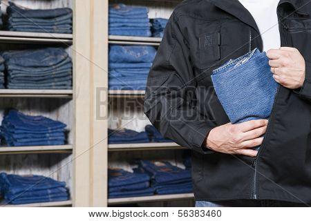 Shoplifter Stealing Denim