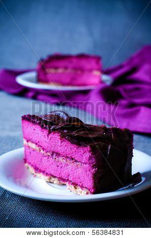 Piece Of Purple Cake Souffle Black Currants