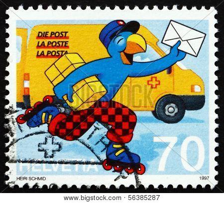 Postage Stamp Switzerland 1997 Globi As Postman