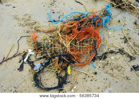 Pollution At The Beach Nets And Cords