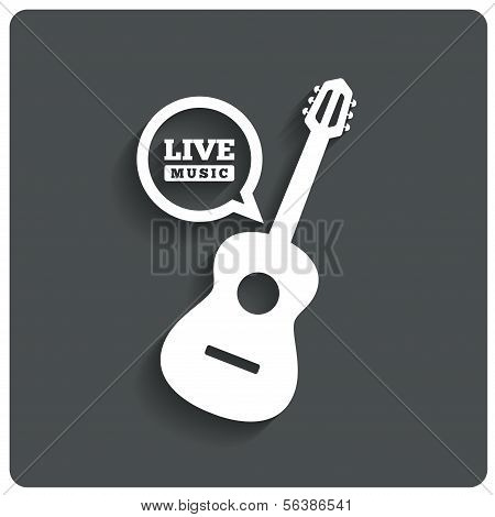 Acoustic guitar icon. Live music symbol. Flat icon