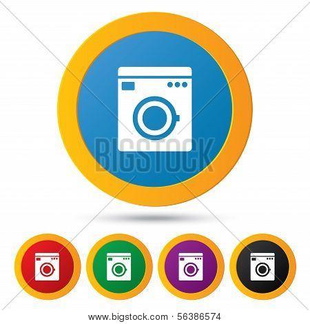 Washing machine icons. Wash machine symbol.