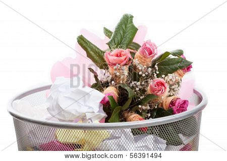 Flowers In Dustbin