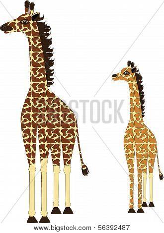 Adult Giraffe and Baby Giraffe