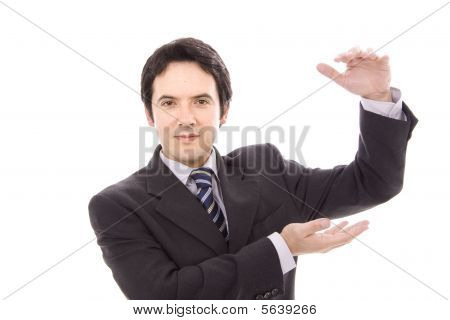 young business man simulate holding something isolated on white