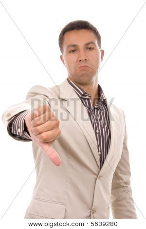 Young Businessman Thumb Down Isolated On White