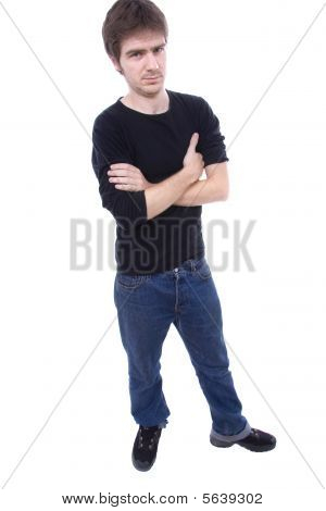 Young Casual Man Full Body Isolated On White