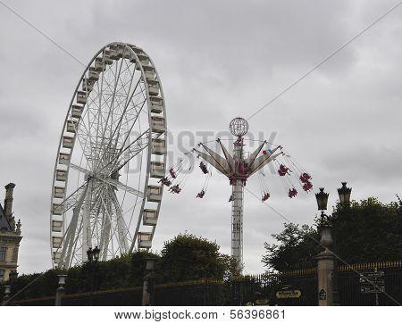 PARIS,FRANCE,AUGUST 18-Wheel in Tuilerie Gardens in Paris