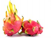 pic of dragon fruit  - Two pieces of dragon fruit on a white background - JPG