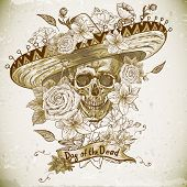 stock photo of sombrero  - Skull in sombrero with flowers Day of The Dead - JPG