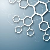 stock photo of molecules  - White abstract chemical molecule design on blue background - JPG
