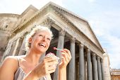 foto of gelato  - Girl eating ice cream by Pantheon - JPG