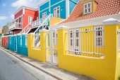 stock photo of curacao  - The bright colors of the dutch architecture in the city of Willemstad Curacao.