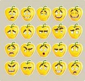 Vector cartoon yellow Bulgarian pepper smile with many expressio