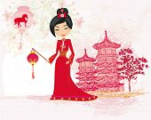 image of geisha  - geisha celebrated Chinese New Year  - JPG