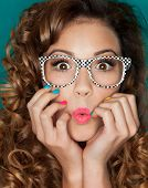 image of nerd glasses  - Young attractive surprised woman wearing glasses - JPG