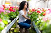 stock photo of greenhouse  - Young woman looking at flowers in a greenhouse - JPG
