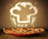 stock photo of chef cap  - Delicious pizza with chef cook hat steam illustration on wood deck - JPG