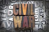 pic of battlefield  - Civil War written in vintage letterpress type - JPG
