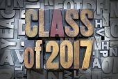 stock photo of senior prom  - Class of 2017 written in vintage letterpress type - JPG