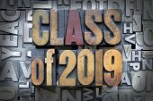 image of senior prom  - Class of 2019 written in vintage letterpress type - JPG