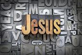 stock photo of salvation  - The name Jesus written in vintage letterpress type - JPG