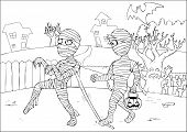 stock photo of mummy  - Outline drawing of mummies for coloring page - JPG