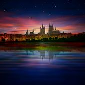 stock photo of koln  - abstract background with purple sunset and silhouette of Koln - JPG