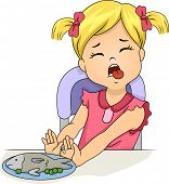 stock photo of plate fish food  - Illustration of a Grossed Out Little Girl Pushing Away a Plate of Food - JPG