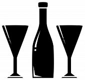 picture of boose  - black silhouette two glass and wine bottle - JPG