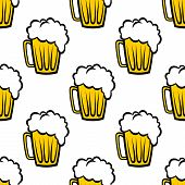 stock photo of malt  - Seamless repeat pattern background of golden tankards of frothy beer or ale suitable for print wallpaper or fabric design - JPG