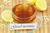 foto of chamomile  - Good morning card with cup of tea - JPG