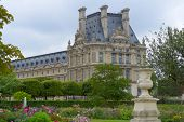 PARIS, FRANCE - SEPTEMBER 12, 2013: View to Denon Wing of Louvre from the Tuileries Gardens in Paris