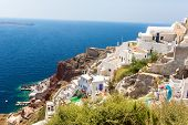 stock photo of staircases  - View of Fira town  - JPG