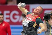 GOTHENBURG, SWEDEN - MARCH 1 Marco Schmidt (Germany) places 7th in the men's shot put final during t