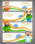 pic of ashok  - vector illustration of Indian people of different caste forming India - JPG