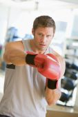 pic of portrait middle-aged man  - Man Boxing At Gym - JPG