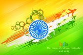 picture of ashoka  - vector illustration of grungy Indian Flag with Ashoka Chakra and flying jet - JPG
