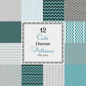 foto of chevron  - 12 Cute different vector seamless patterns  - JPG