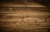 stock photo of wood  - Grungy brown wood texture of horizontal boards - JPG