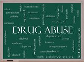 stock photo of heroin  - Drug Abuse Word Cloud Concept on a Blackboard with great terms such as addiction heroin disease relapse and more - JPG