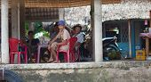Vietnamese men enjoying tea time at Mekong Delta