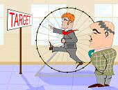 image of hamster  - Retro illustration with businessman in a hamster wheel - JPG
