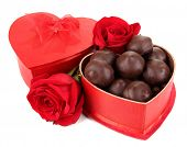 stock photo of truffle  - Chocolate candies in gift box - JPG